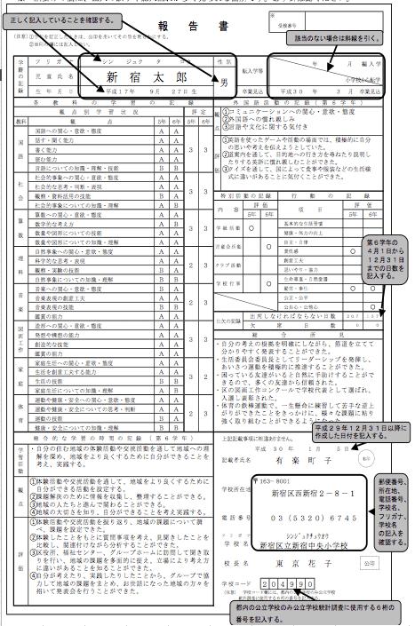都立中学受験用_報告書書き方