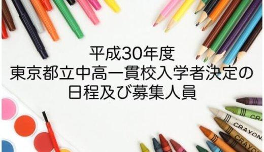 <平成30年度>都立中高一貫校の受検(受験)日程と募集人員について