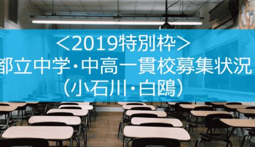 <2019特別枠>都立中学・中高一貫校募集状況(小石川・白鴎)